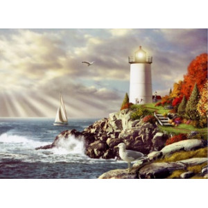 Q097 Картина по номерам маяк на краю мыса 40x50 купить в Омске недорого