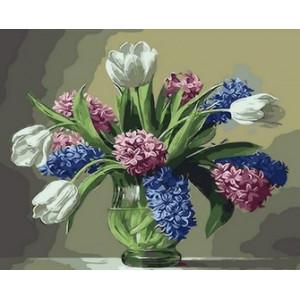 Q1315 Картина по номерам букет из полевых цветов с тюльпанами 40x50 см купить в Омске недорого