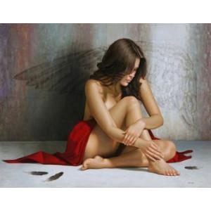 Q1388 Роспись по номерам на холсте Темный ангел 40х50 см купить в Омске недорого