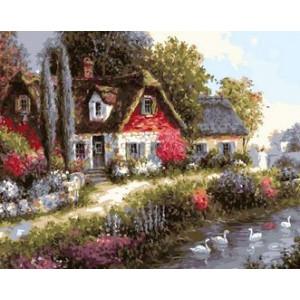 Q1832 Картина по номерам пруд с лебедями в деревне 40x50 купить в Омске недорого