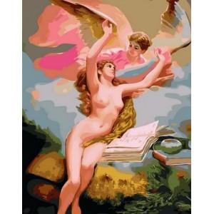 Q1871 Картина по номерам розовые ангелы 40x50