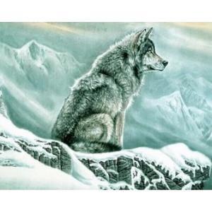 Q2168 Картина по номерам волк на снегу 40x50см купить в Омске недорого