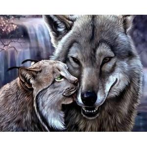 q2174 Картина по номерам счастливые волки 40x50 купить в Омске недорого