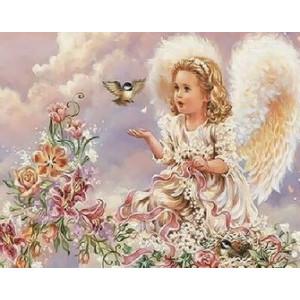 Q2175 Картина по номерам ангел играет с птичкой 40x50 купить в Омске недорого