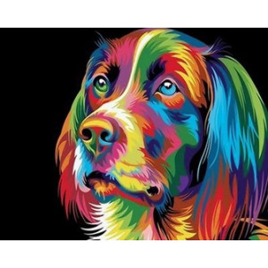 Q2201 Картина по номерам поп-арт собака 40x50 купить в Омске недорого