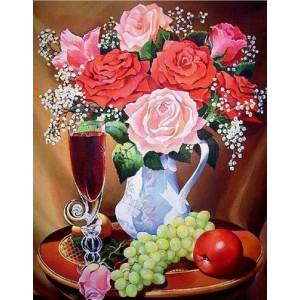Q2244 Картина по номерам розы и фрукты 40x50 см купить в Омске недорого
