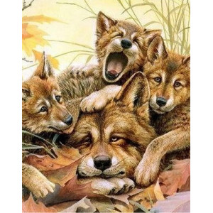 Q2280 Картина по номерам уставшие волчата 40x50 купить в Омске недорого