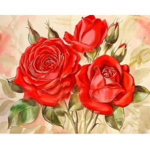 Q2284 Картина по номерам три красные розы 40x50 купить в Омске недорого