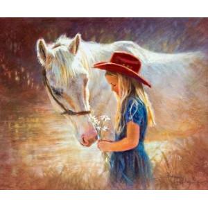 R1355 Картина по номерам девочка и лошадь 40x50 купить в Омске недорого