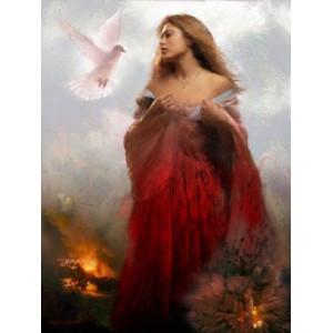 R1457 Картина по номерам дама в красном 40x50 купить в Омске недорого