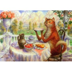 R1671 Картина по номерам рыжий кот за столом 40x50 см купить в Омске недорого