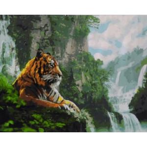 """GХ4908 """"Тигр на фоне водопадов"""", 40х50 см"""