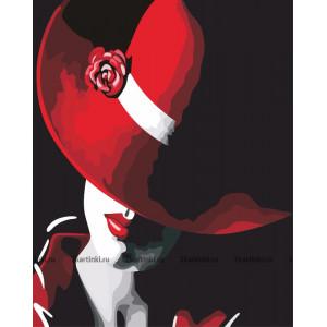 B401 Картина по номерам красная шляпа 40x50см купить в Омске недорого