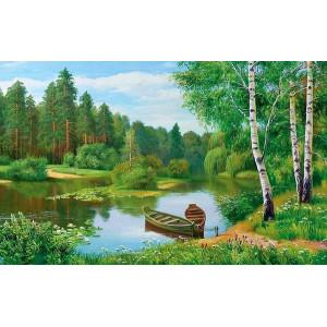 GХ3080 картины по номерам Две лодки у берега пруда 40х50 см