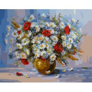 GХ4103 картина по номерам Ромашки и маки в коричневой вазе 40х50 см