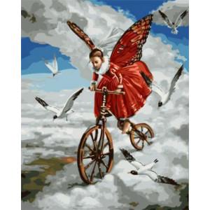 "GХ4127 ""Ангел-бабочка на велосипеде"" , 40х50 см"