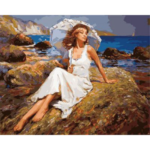 GХ4156 картина по номерам Девушка под зонтом на камне 40х50 см