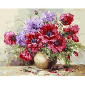 GХ4171 картина по номерам Цветы в золотистой вазе  40х50 см
