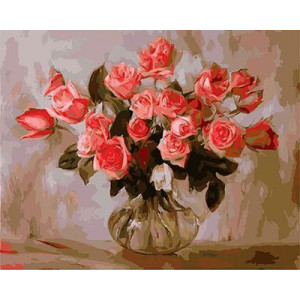 GХ4209 картина по номерам Ярко-розовые розы в прозрачной вазе  40х50 см