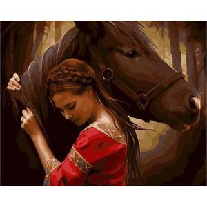GХ4214 картина по номерам Девушка в красном обнимает коня  40х50 см