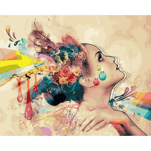 GХ4224 картины по номерам Девушка-краска  40х50 см