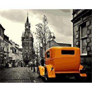 GХ4239 картины по номерам Желтое авто в сером городе  40х50 см
