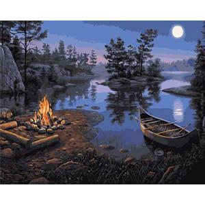 GХ4241 картины по номерам Лодка и костер на берегу реки 40х50 см