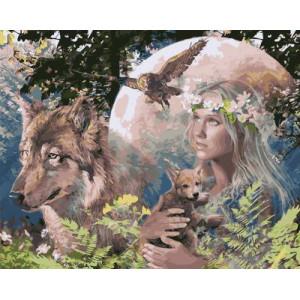 GХ4292  картина по номерам Волк, сова, девушка с лисенком 40х50 см