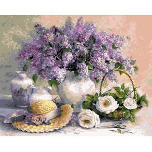 GХ4305 картины по номерам Сирень, розы, шляпка 40х50 см