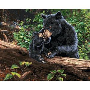 GХ4341 картина по номерам медведица и медвежонок на бревне  40х50 см