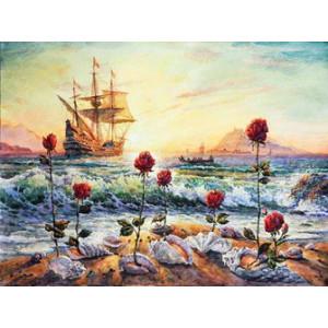 Q2092 Картина по номерам корабль на берегу 40x50 купить в Омске недорого