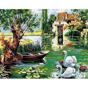 Q2198 Картина по номерам лебеди возле лодки 40x50см купить в Омске недорого