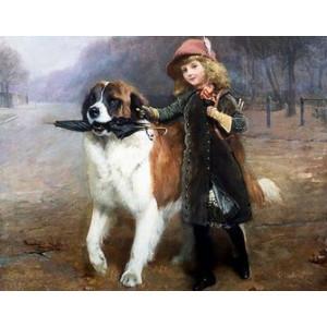 Q2258 Картина по номерам девочка гуляет с собакой 40x50 см купить в Омске недорого