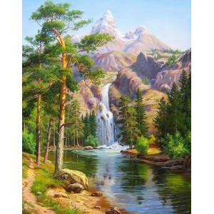 q2262 Картина по номерам водопад с высоких скал 40x50см купить в Омске недорого