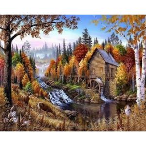 Q2266 Картина по номерам мельница у реки 40x50 купить в Омске недорого