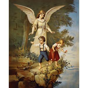 Q2273 Картина по номерам ангелы наблюдает за детьми 40x50см купить в Омске недорого