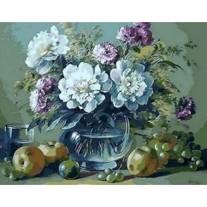 q517 Картина по номерам ваза пышных цветов 40x50 купить в Омске недорого