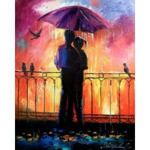 RDG-0781 Картина по номерам влюбленные под зонтом 40x50см купить в Омске недорого