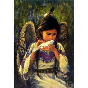RDG-0784 Картина по номерам ангел и голубь 40x50 см купить в Омске недорого