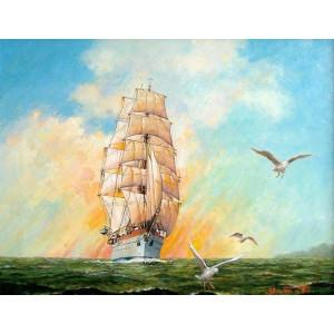 RDG-0828 картина по номерам Золотой закат 40 на 50 см купить в Омске недорого