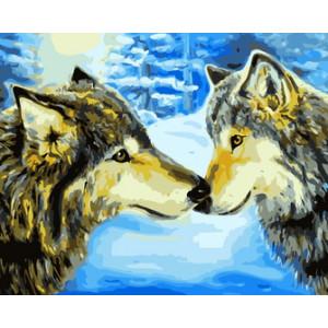 RDG0491 Картина по номерам отношения волчьей семьи 40x50см купить в Омске недорого