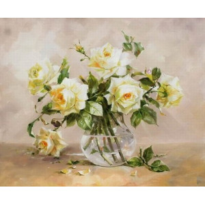 """GХ5229 """"Белые розы"""", 40х50 см"""
