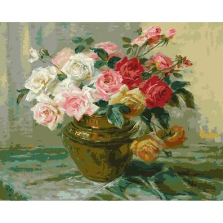 "GХ5248 ""Розы в коричневой вазе"", 40х50 см"