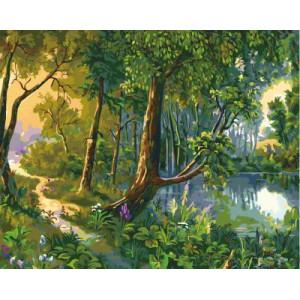 """GX5628 """"Тропинка у лесного озера"""", 40х50 см"""