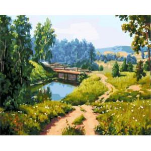 """GX5629 """"Мост через реку в лесу"""", 40х50 см"""