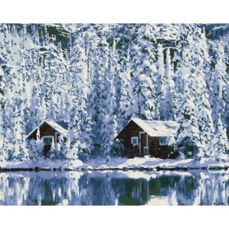 """GX5667 """"Две избушки в зимнем лесу"""", 40х50 см"""