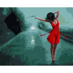 "GХ3378 ""У девушки сдувает зонт"", 40х50 см"