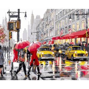 """GХ3688 """"Люди с красными зонтами, желтые такси"""", 40х50 см"""