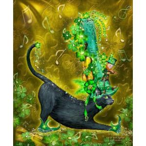 "GХ5298 ""Кот в зеленой шляпе с нотами"", 40х50 см"