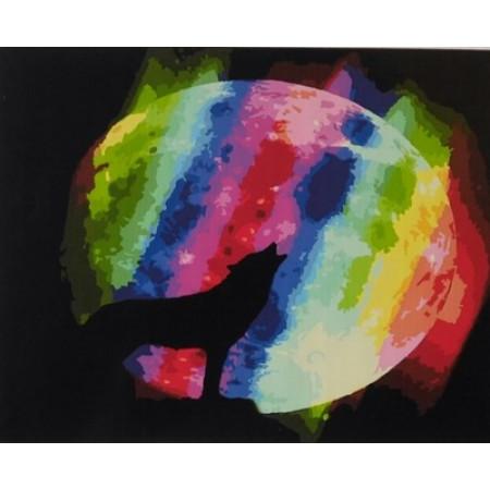 """GХ5320 """"Волк на фоне цветной луны"""", 40х50 см"""